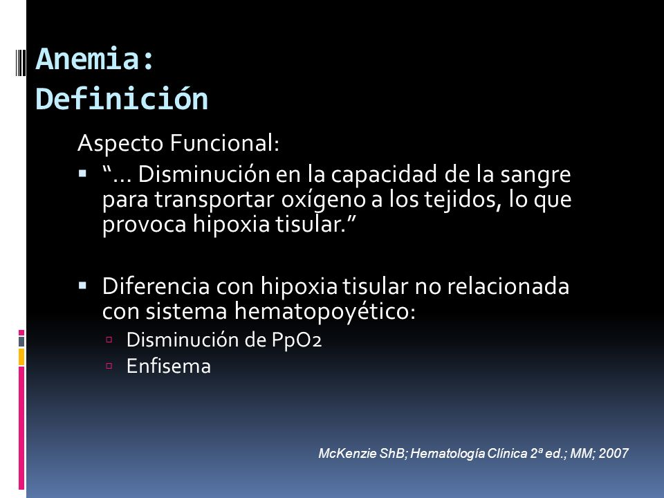 Anemia: Definición Aspecto Funcional: