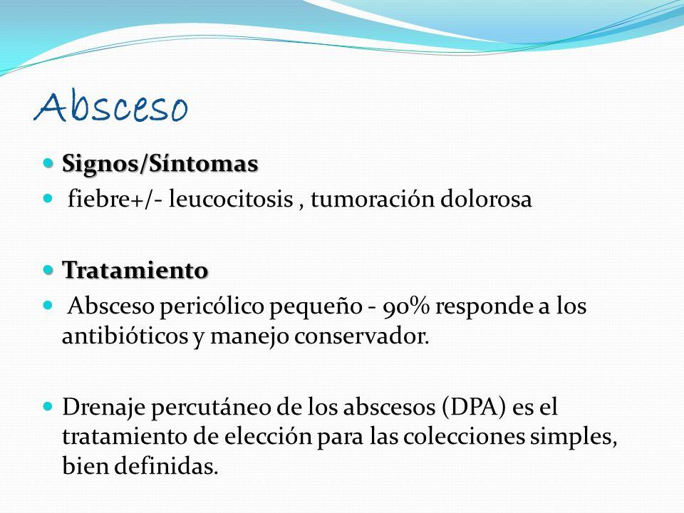 Absceso Signos/Síntomas fiebre+/- leucocitosis , tumoración dolorosa