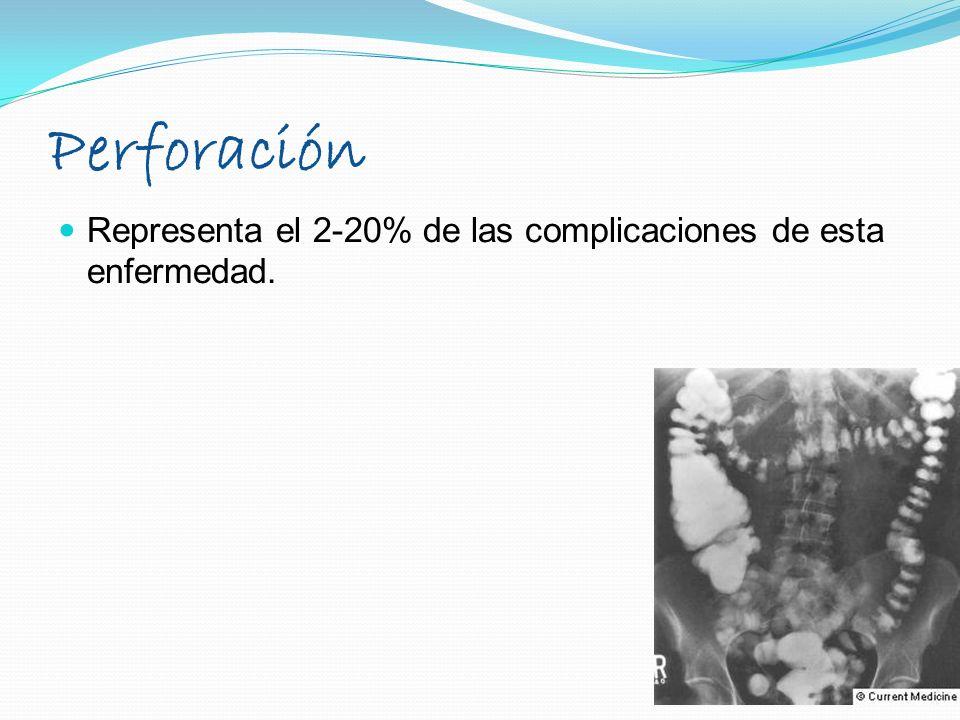 Perforación Representa el 2-20% de las complicaciones de esta enfermedad.