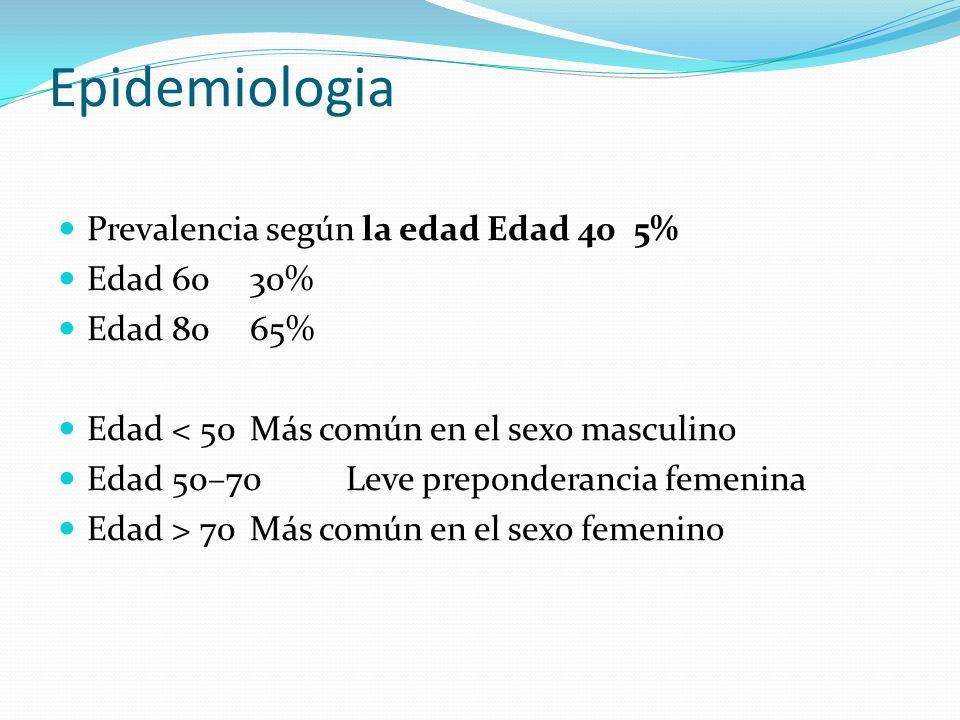 Epidemiologia Prevalencia según la edad Edad 40 5% Edad 60 30%
