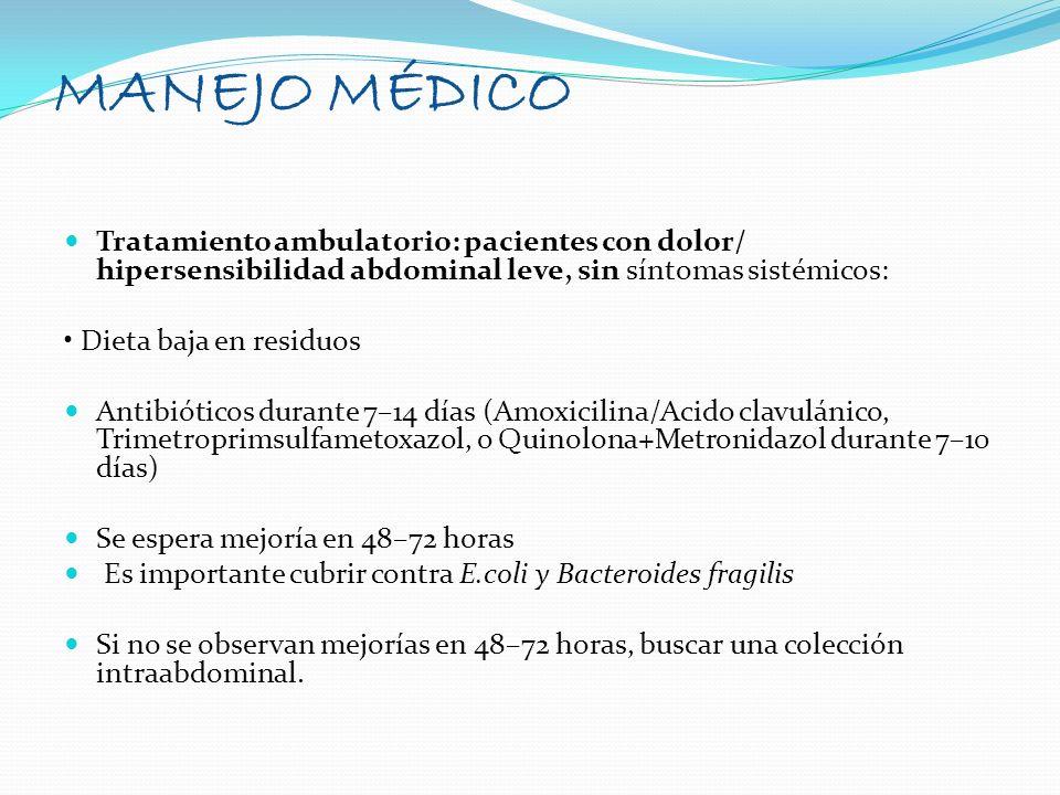 MANEJO MÉDICO Tratamiento ambulatorio: pacientes con dolor/ hipersensibilidad abdominal leve, sin síntomas sistémicos: