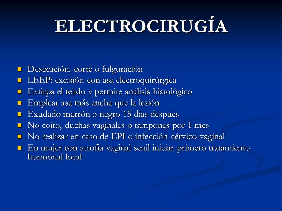 ELECTROCIRUGÍA Desecación, corte o fulguración