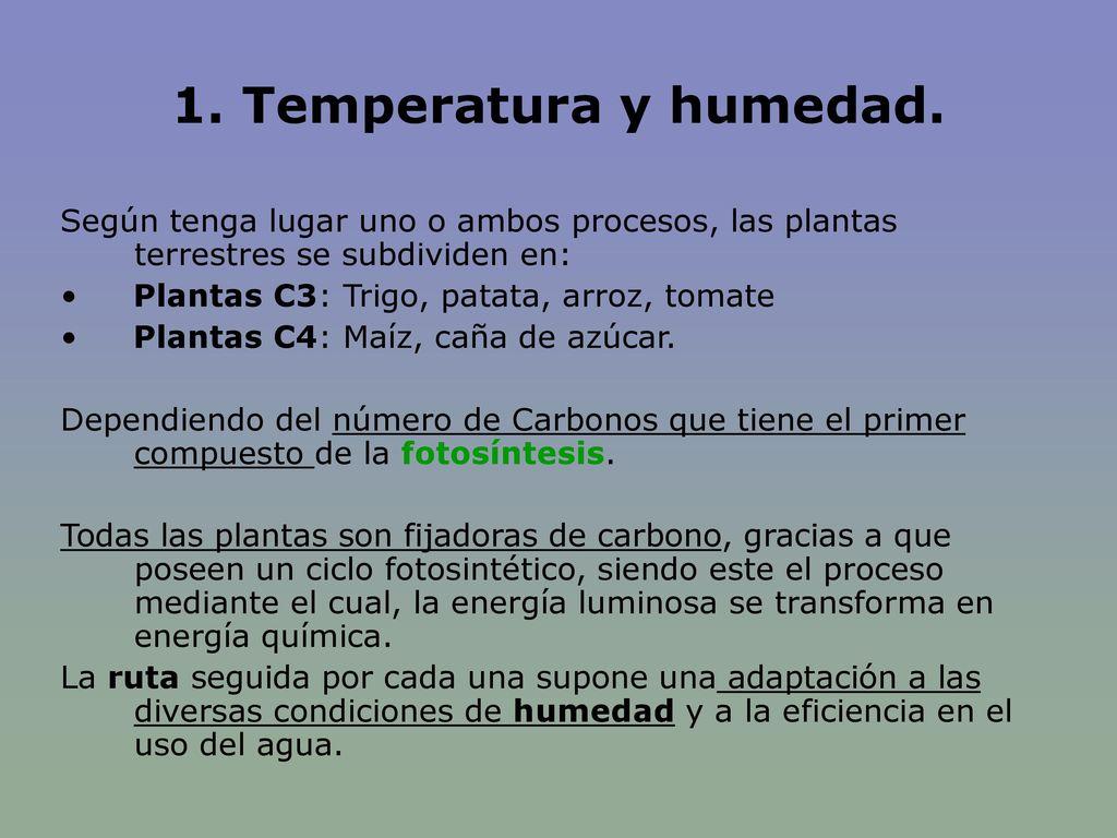 1. Temperatura y humedad. Según tenga lugar uno o ambos procesos, las plantas terrestres se subdividen en: