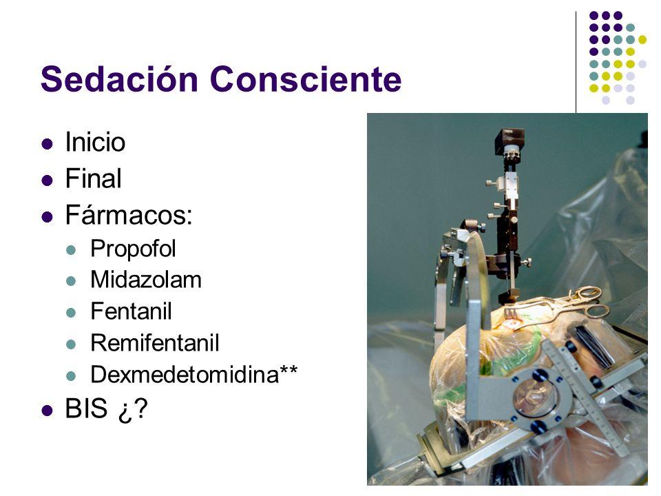 Sedación Consciente Inicio Final Fármacos: BIS ¿ Propofol Midazolam
