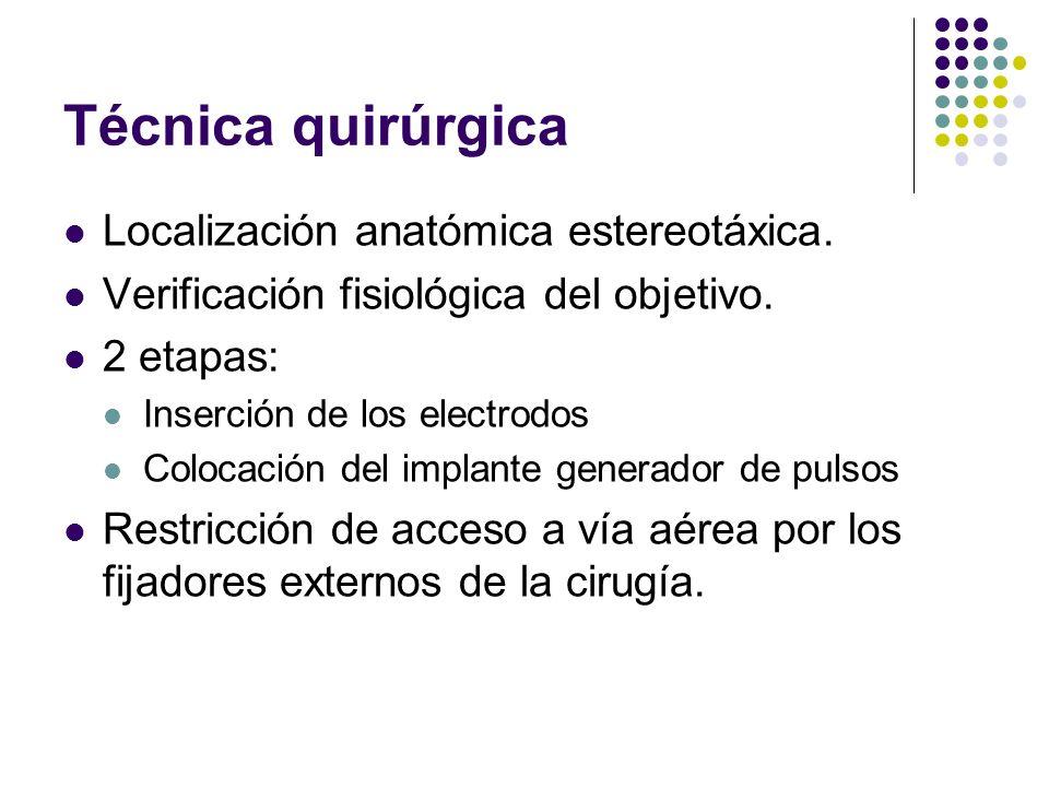 Técnica quirúrgica Localización anatómica estereotáxica.
