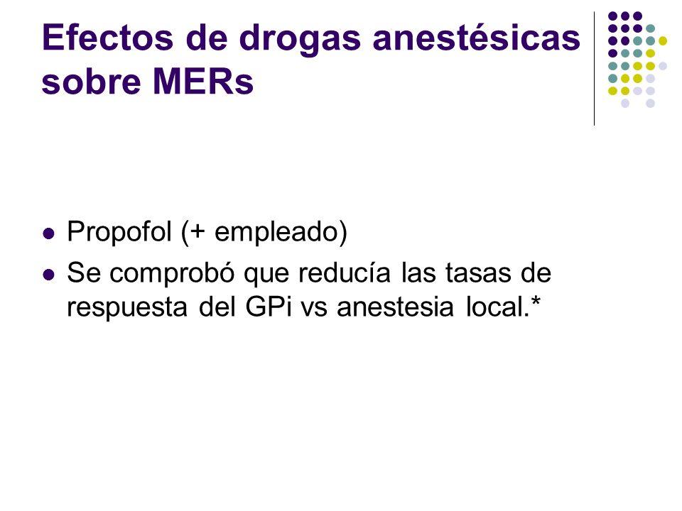 Efectos de drogas anestésicas sobre MERs