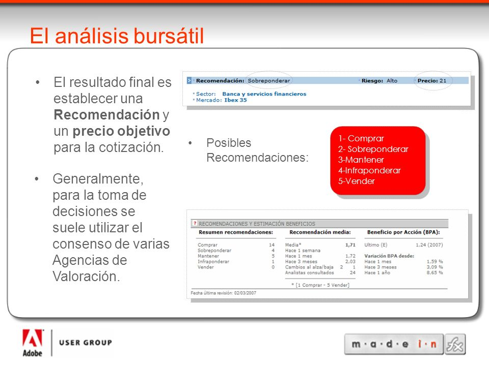 El análisis bursátil El resultado final es establecer una Recomendación y un precio objetivo para la cotización.