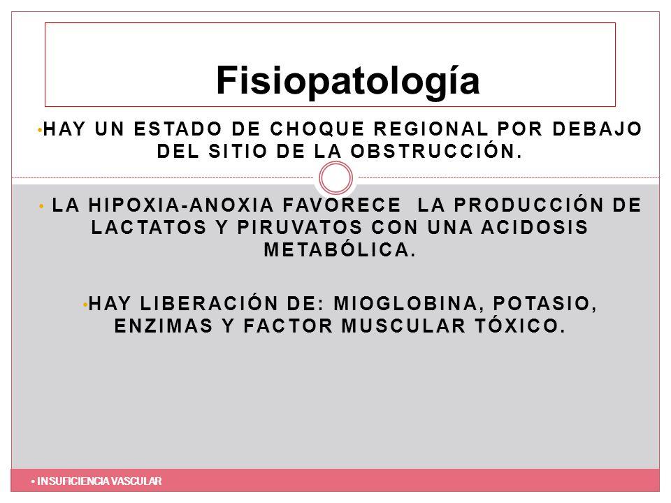 FisiopatologíaHay un estado de choque regional por debajo del sitio de la obstrucción.