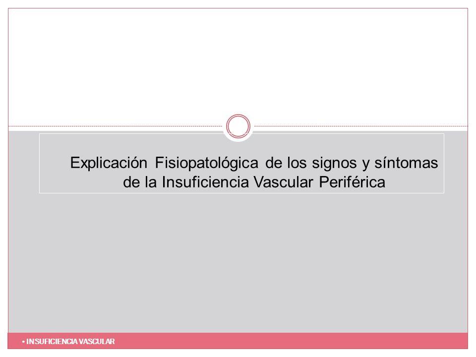 Explicación Fisiopatológica de los signos y síntomas de la Insuficiencia Vascular Periférica