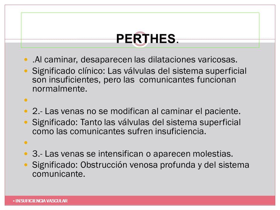 PERTHES. .Al caminar, desaparecen las dilataciones varicosas.
