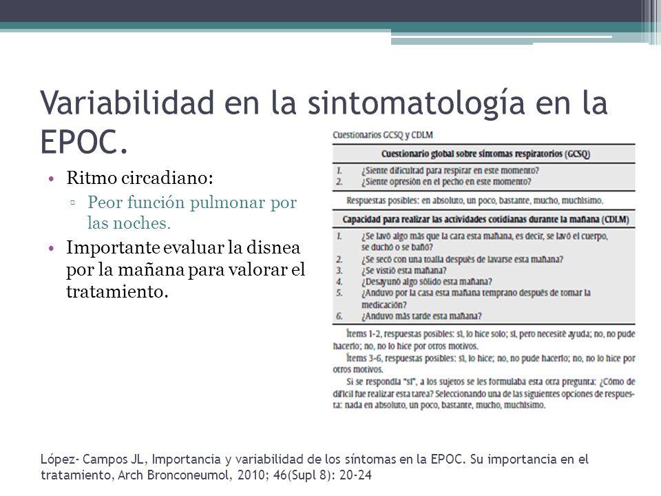 Variabilidad en la sintomatología en la EPOC.
