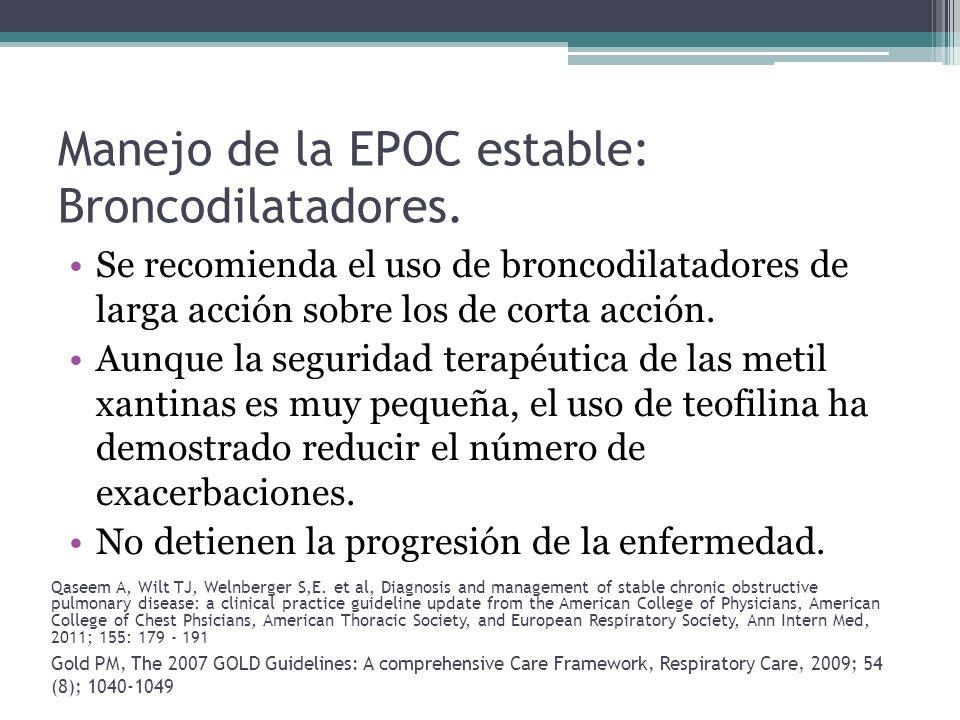 Manejo de la EPOC estable: Broncodilatadores.