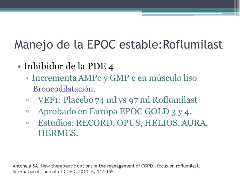 Manejo de la EPOC estable:Roflumilast