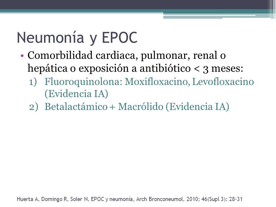 Neumonía y EPOCComorbilidad cardiaca, pulmonar, renal o hepática o exposición a antibiótico < 3 meses: