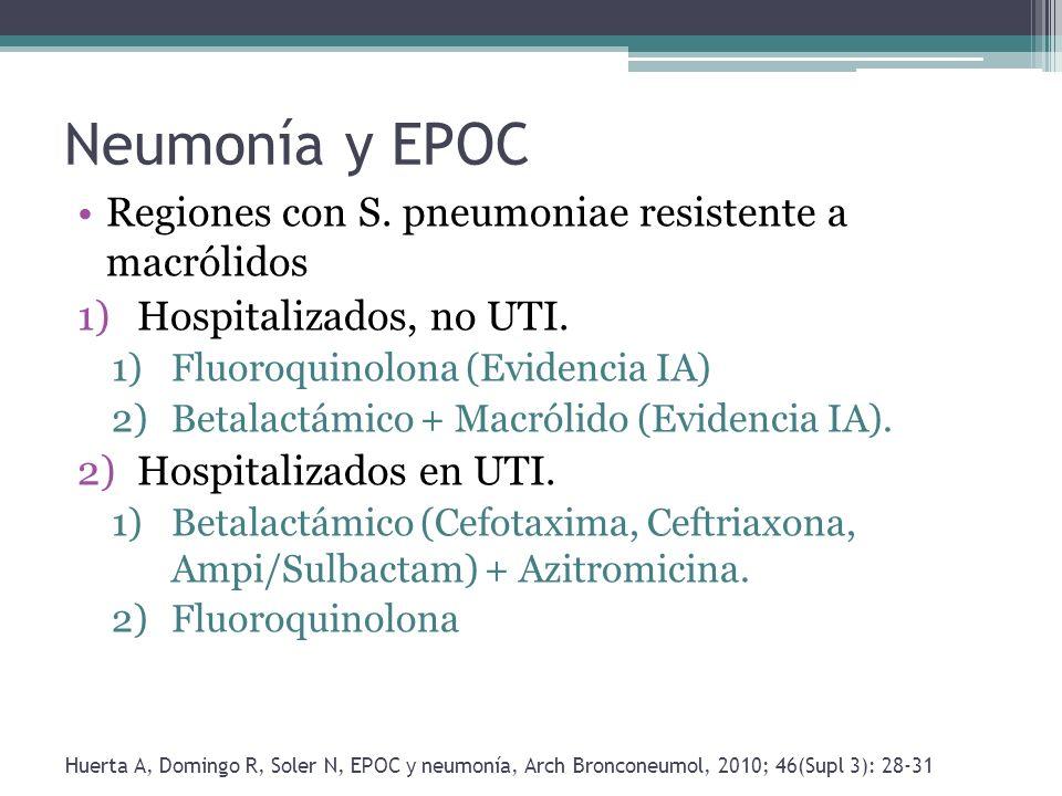 Neumonía y EPOC Regiones con S. pneumoniae resistente a macrólidos