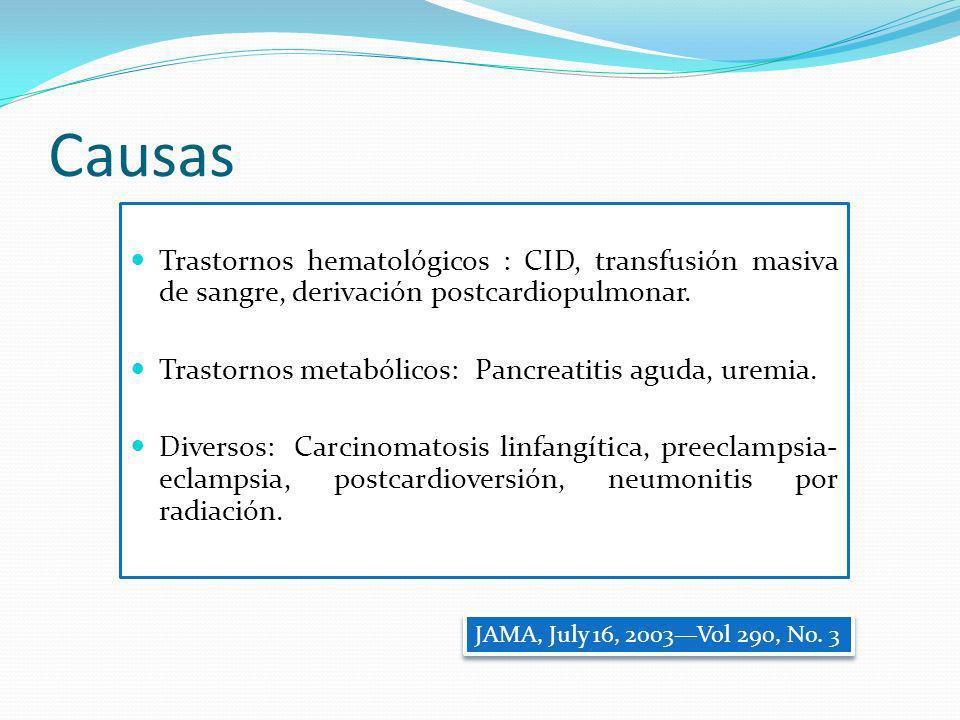 Causas Trastornos hematológicos : CID, transfusión masiva de sangre, derivación postcardiopulmonar.