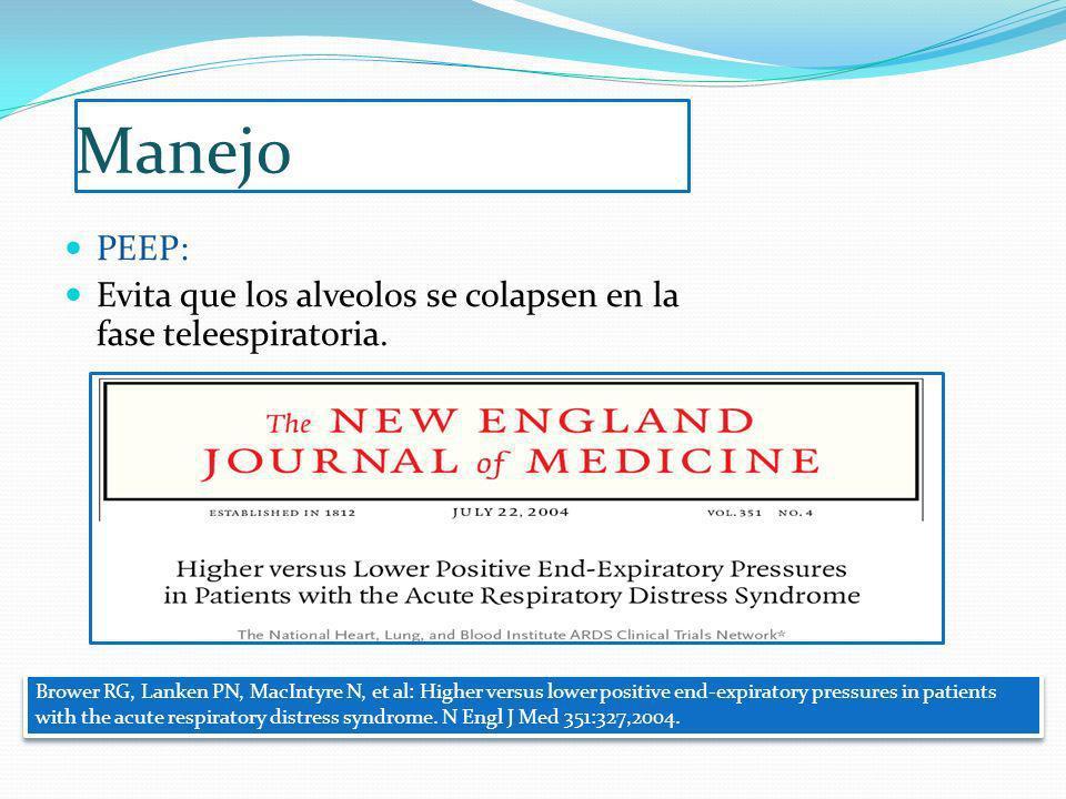 Manejo PEEP: Evita que los alveolos se colapsen en la fase teleespiratoria.