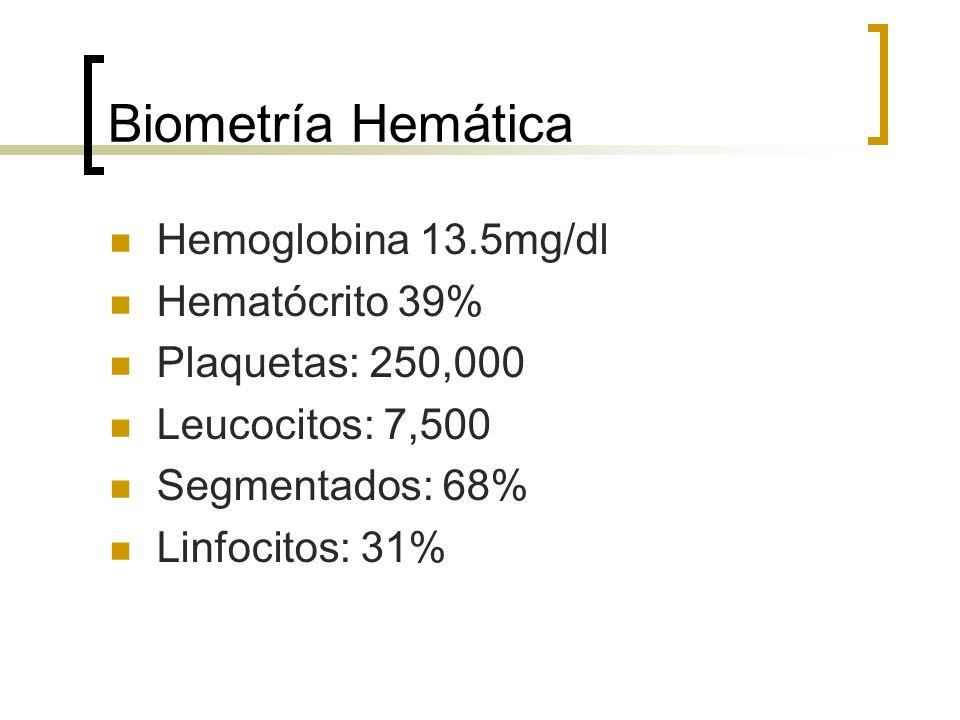 Biometría Hemática Hemoglobina 13.5mg/dl Hematócrito 39%