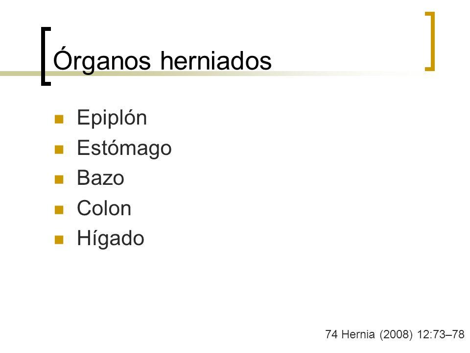 Órganos herniados Epiplón Estómago Bazo Colon Hígado