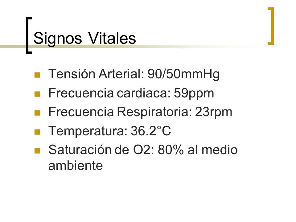 Signos Vitales Tensión Arterial: 90/50mmHg Frecuencia cardiaca: 59ppm