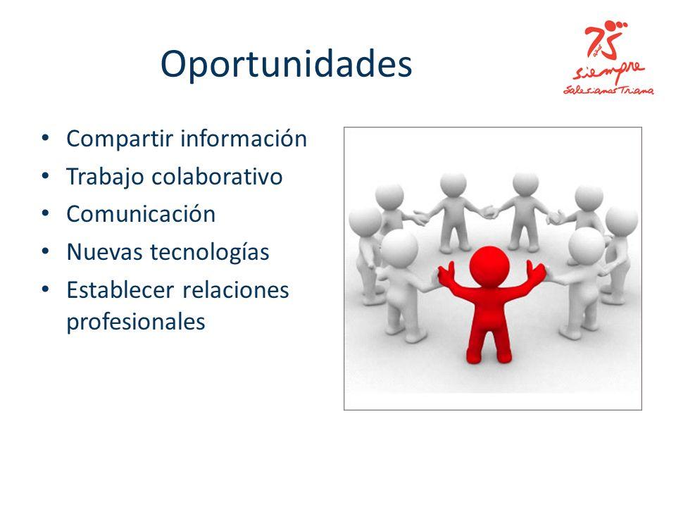 Oportunidades Compartir información Trabajo colaborativo Comunicación