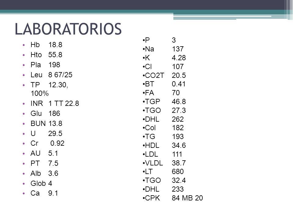 LABORATORIOS P 3 Hb 18.8 Na 137 Hto 55.8 K 4.28 Pla 198 Cl 107