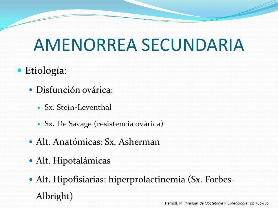 AMENORREA SECUNDARIA Etiología: Disfunción ovárica: