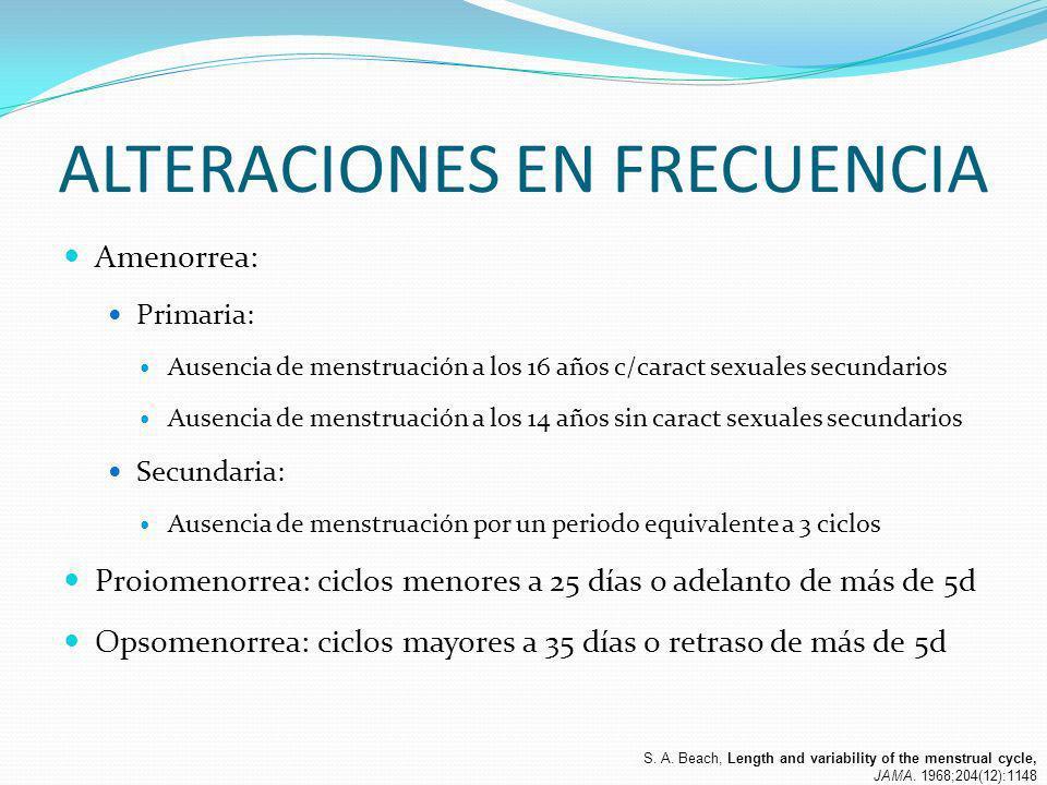 ALTERACIONES EN FRECUENCIA