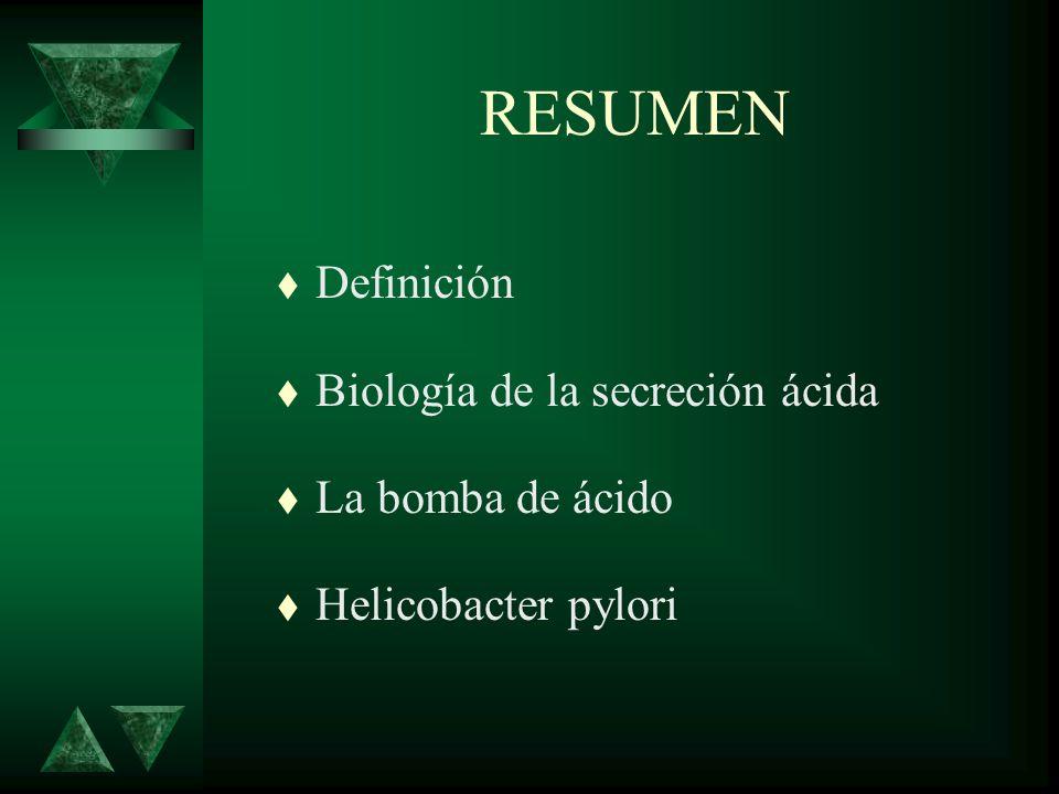 RESUMEN Definición Biología de la secreción ácida La bomba de ácido