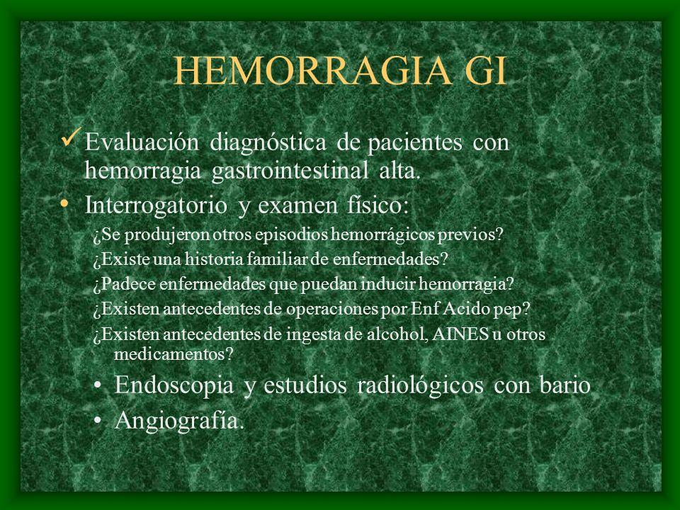 HEMORRAGIA GI Evaluación diagnóstica de pacientes con hemorragia gastrointestinal alta. Interrogatorio y examen físico: