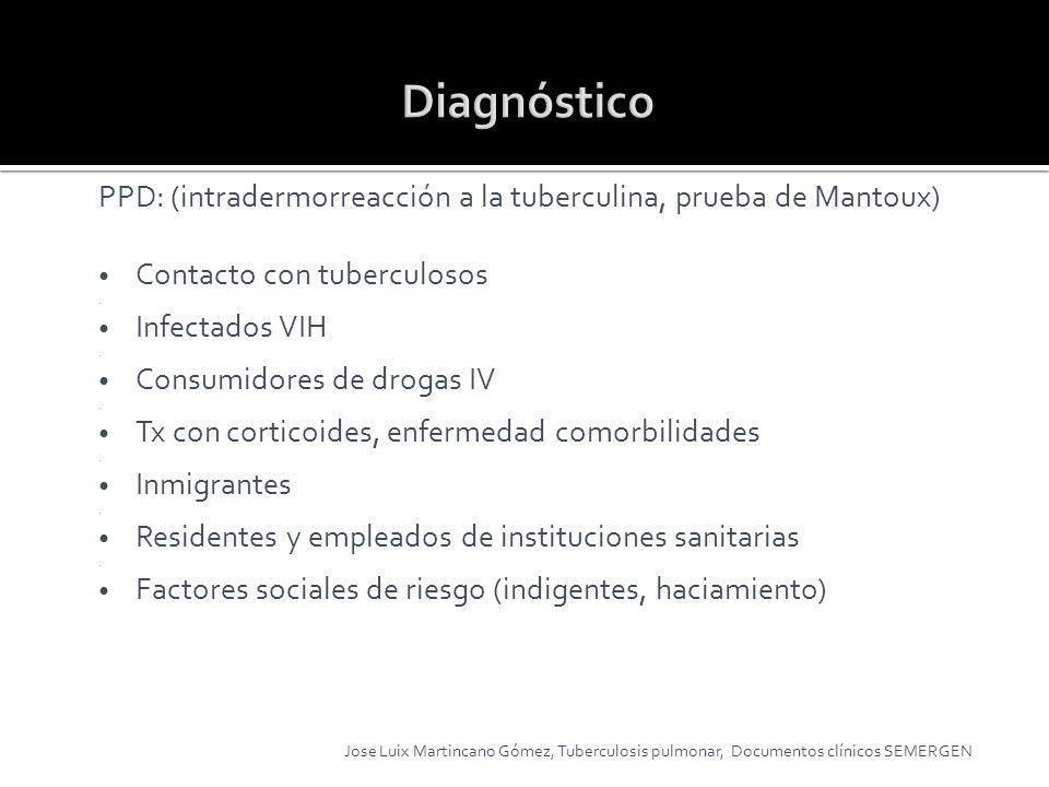 DiagnósticoPPD: (intradermorreacción a la tuberculina, prueba de Mantoux) Contacto con tuberculosos.