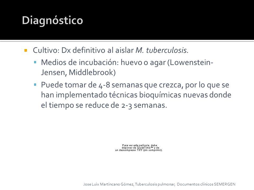 Diagnóstico Cultivo: Dx definitivo al aislar M. tuberculosis.