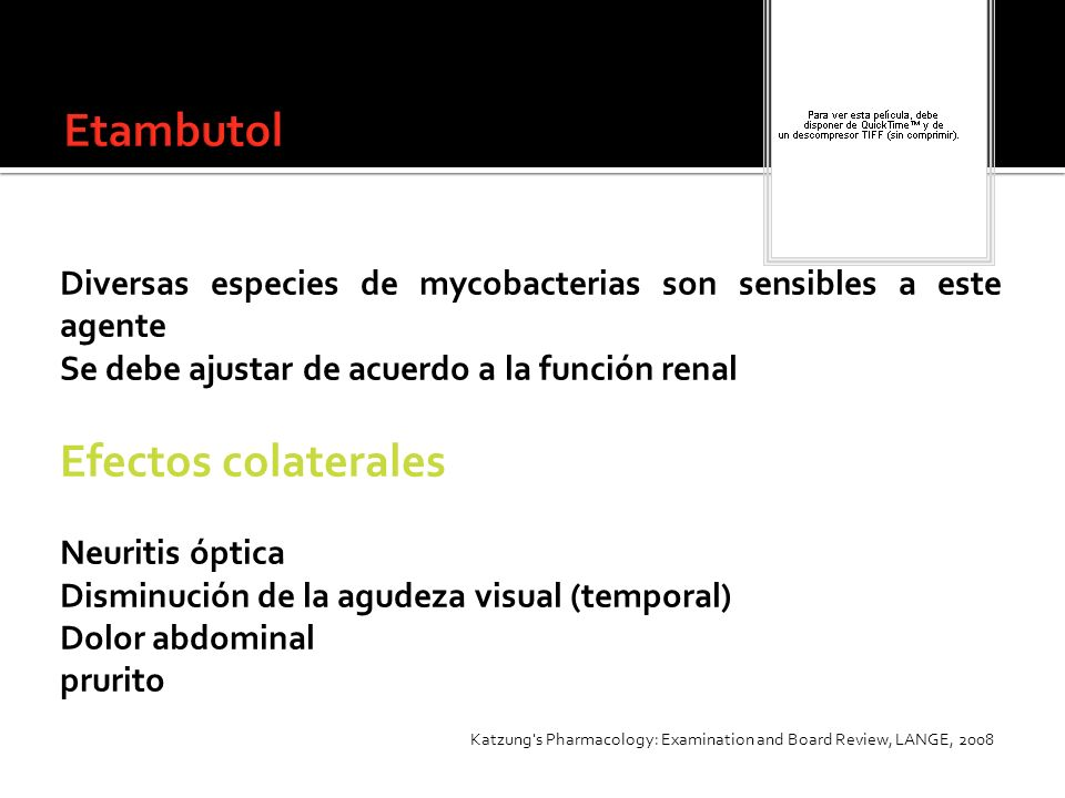 Etambutol Efectos colaterales