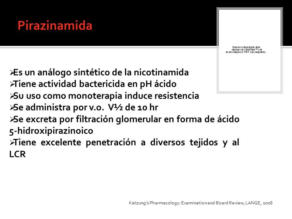 Pirazinamida Es un análogo sintético de la nicotinamida