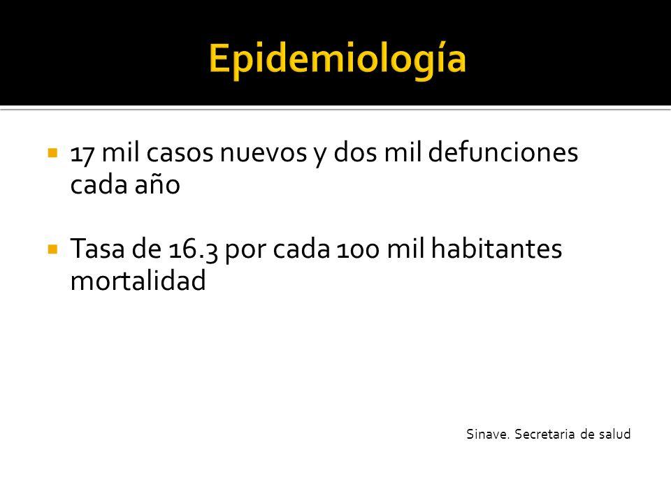 Epidemiología 17 mil casos nuevos y dos mil defunciones cada año