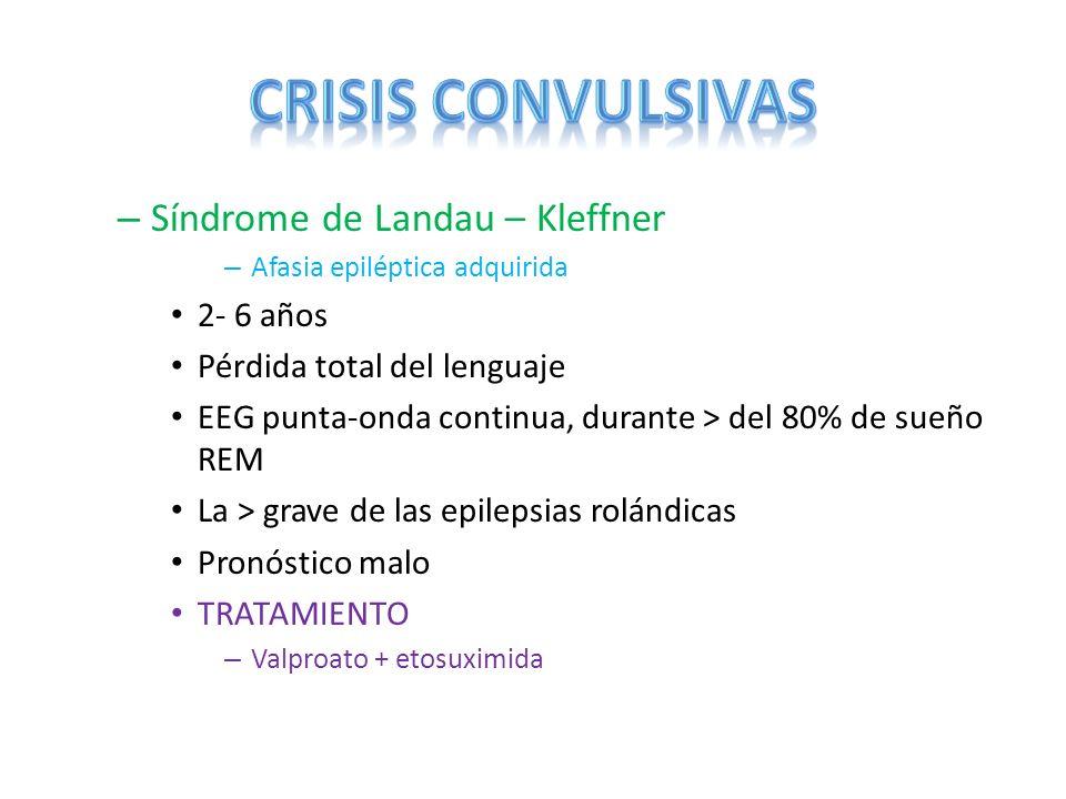 CRISIS CONVULSIVAS Síndrome de Landau – Kleffner 2- 6 años