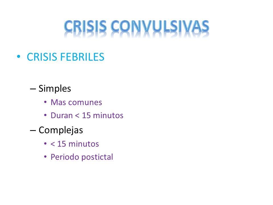 CRISIS CONVULSIVAS CRISIS FEBRILES Simples Complejas Mas comunes