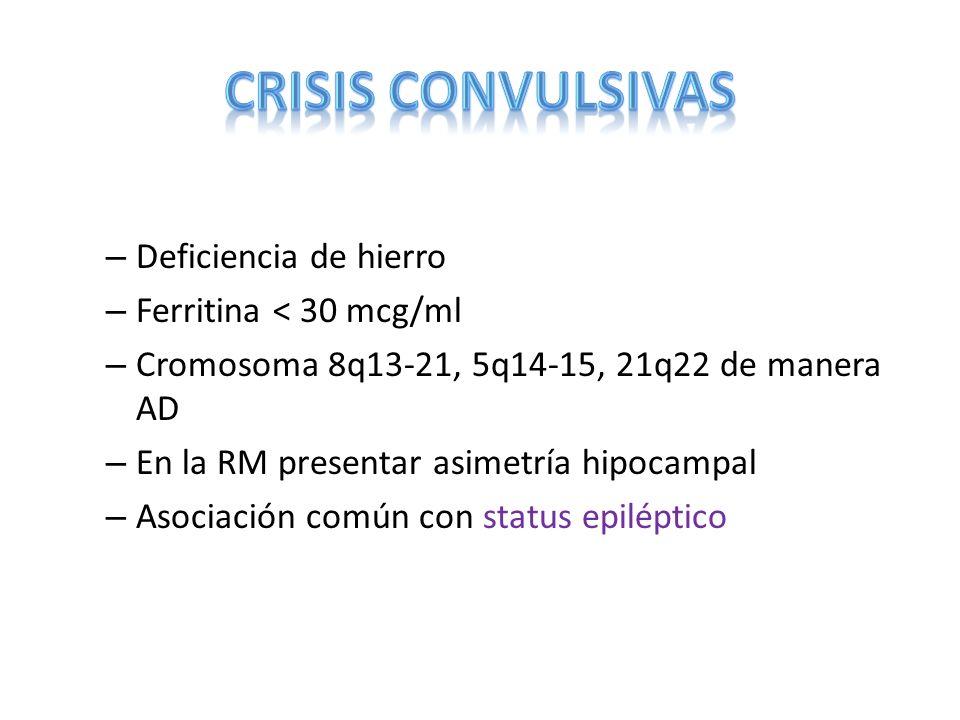 CRISIS CONVULSIVAS Deficiencia de hierro Ferritina < 30 mcg/ml