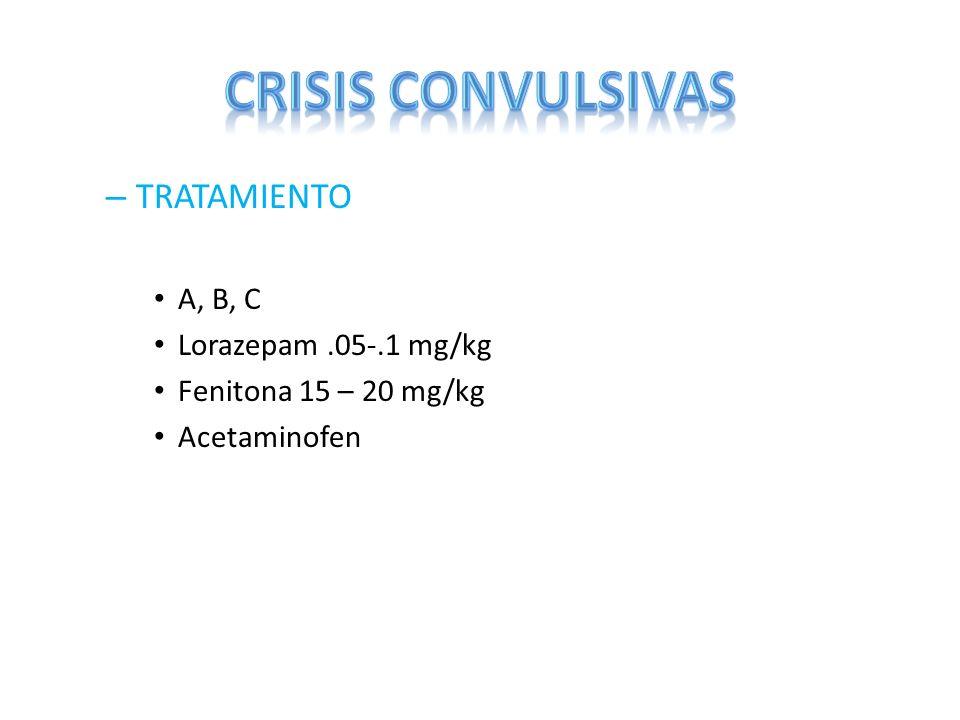 CRISIS CONVULSIVAS TRATAMIENTO A, B, C Lorazepam .05-.1 mg/kg