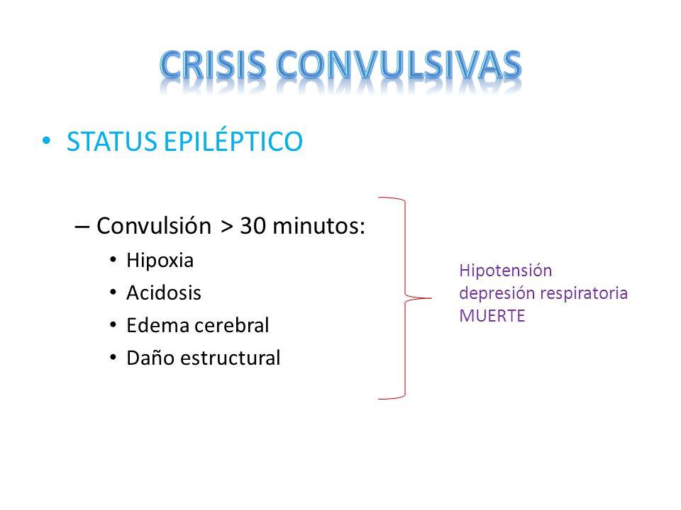 CRISIS CONVULSIVAS STATUS EPILÉPTICO Convulsión > 30 minutos: