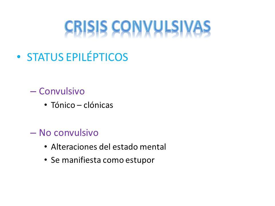 CRISIS CONVULSIVAS STATUS EPILÉPTICOS Convulsivo No convulsivo