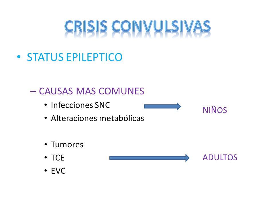 CRISIS CONVULSIVAS STATUS EPILEPTICO CAUSAS MAS COMUNES
