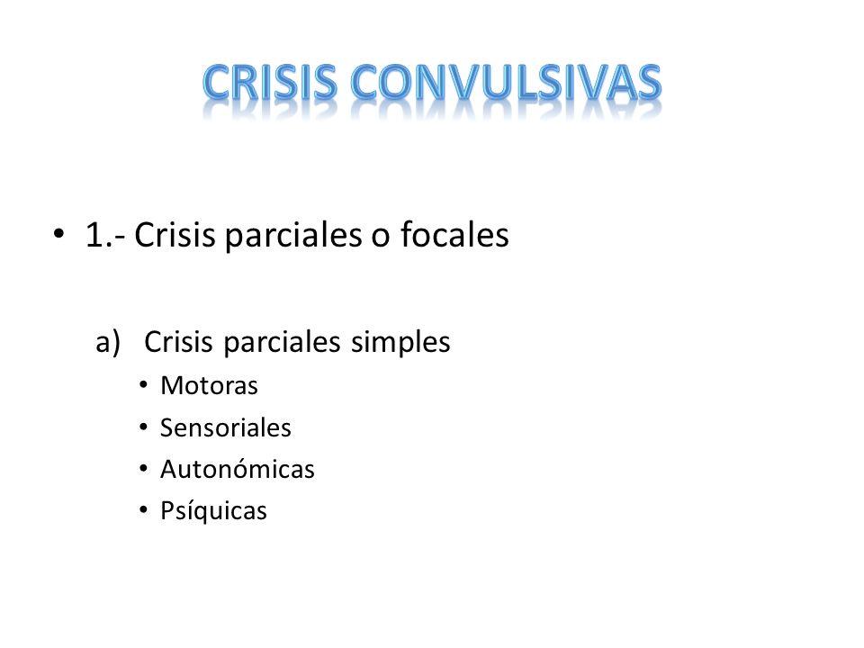 CRISIS CONVULSIVAS 1.- Crisis parciales o focales