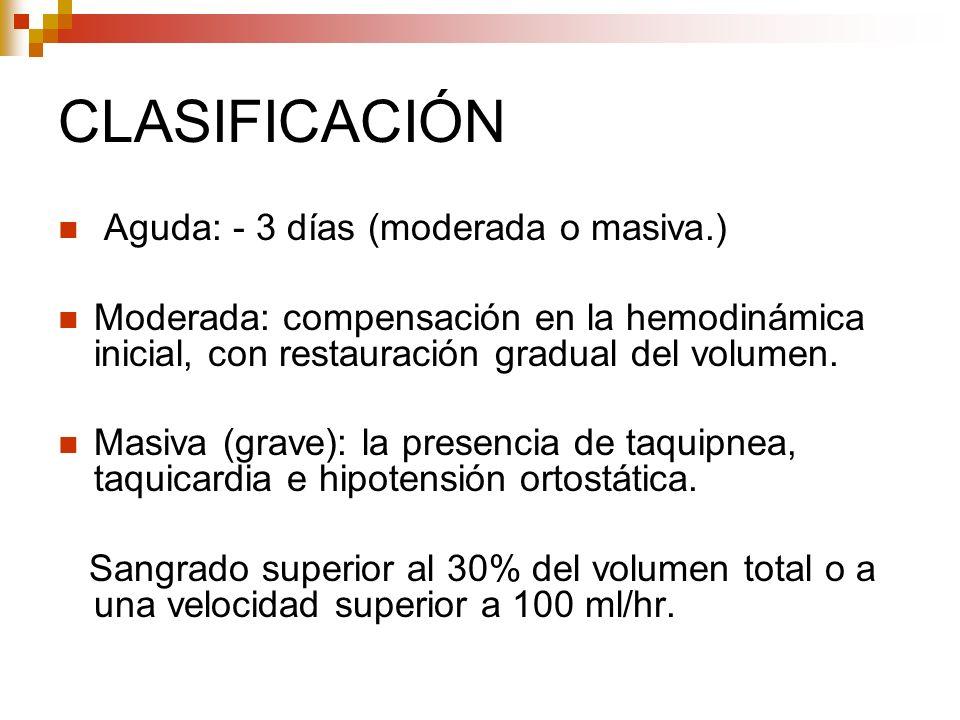 CLASIFICACIÓN Aguda: - 3 días (moderada o masiva.)