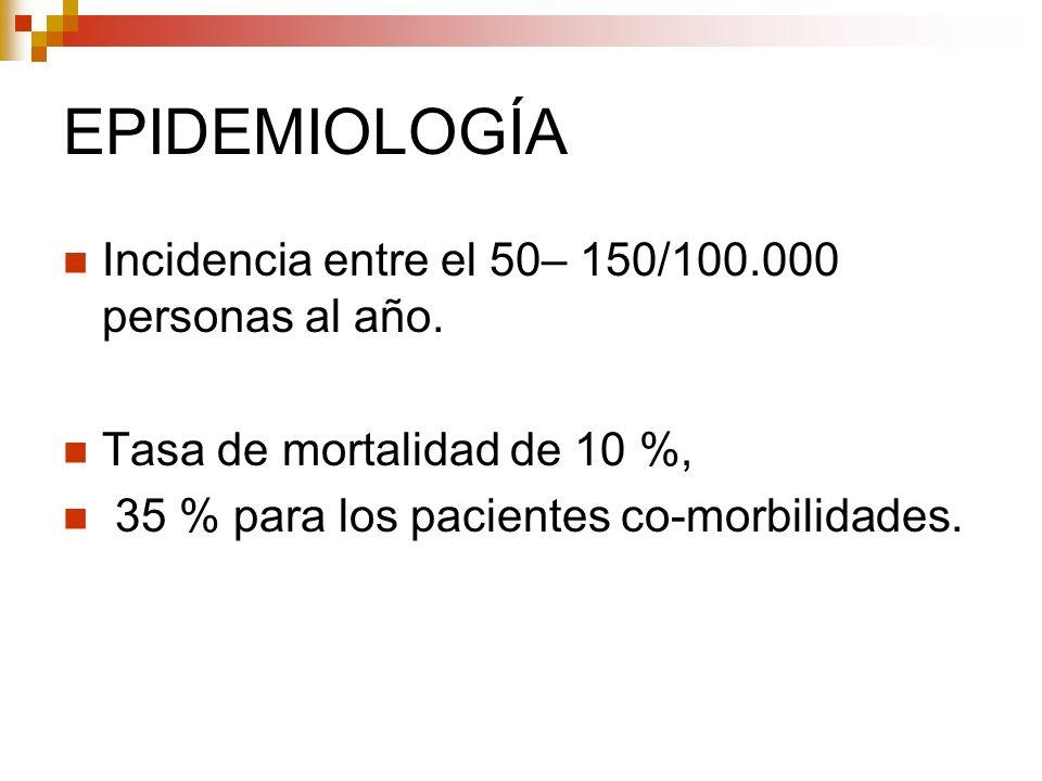 EPIDEMIOLOGÍA Incidencia entre el 50– 150/100.000 personas al año.