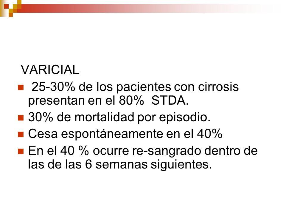 VARICIAL 25-30% de los pacientes con cirrosis presentan en el 80% STDA. 30% de mortalidad por episodio.