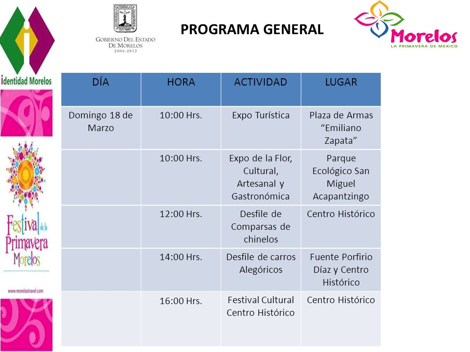 PROGRAMA GENERAL DÍA HORA ACTIVIDAD LUGAR Domingo 18 de Marzo