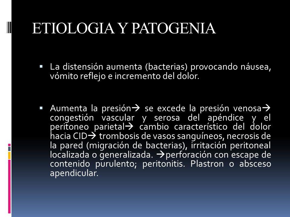 ETIOLOGIA Y PATOGENIA La distensión aumenta (bacterias) provocando náusea, vómito reflejo e incremento del dolor.