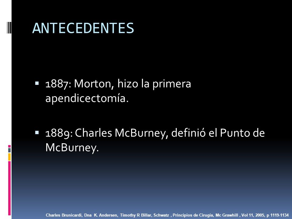 ANTECEDENTES 1887: Morton, hizo la primera apendicectomía.