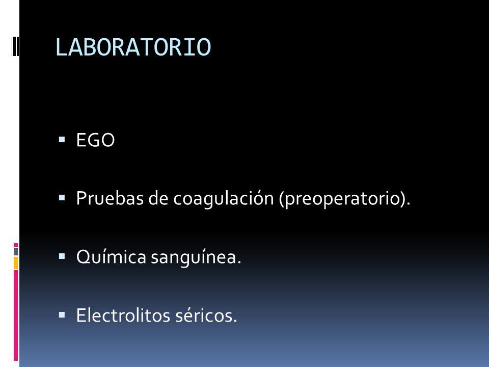 LABORATORIO EGO Pruebas de coagulación (preoperatorio).